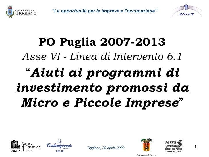 """Bando """"Aiuti ai programmi di investimento promossi da micro e piccole imprese"""" - Por Puglia Misura 6.1"""