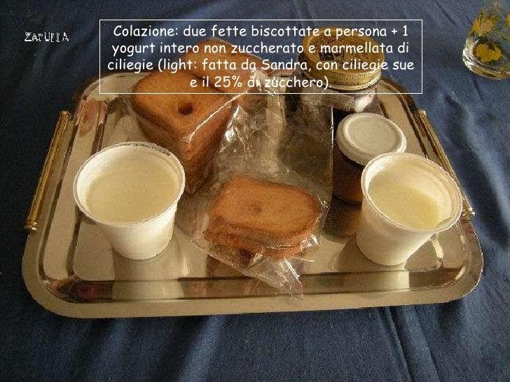 Colazione: due fette biscottate a persona + 1 yogurt intero non zuccherato e marmellata diciliegie (light: fatta da Sandra...