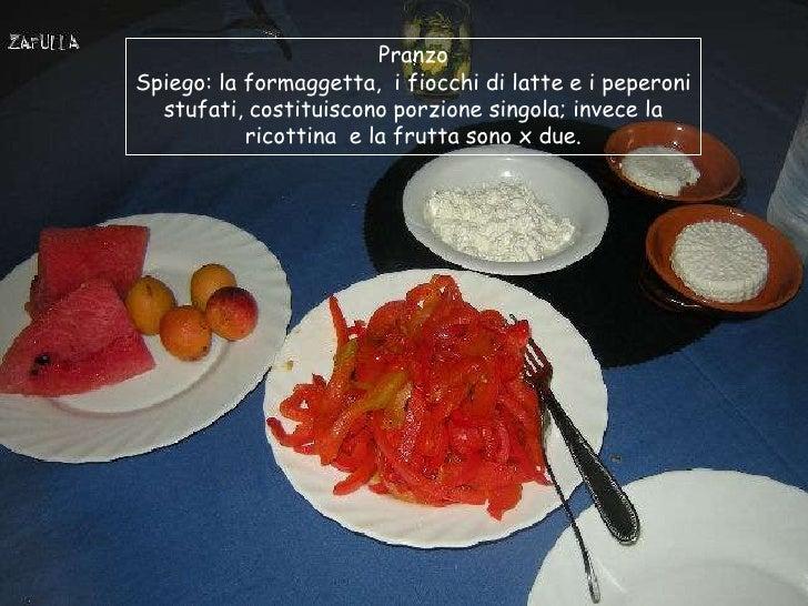 PranzoSpiego: la formaggetta, i fiocchi di latte e i peperoni  stufati, costituiscono porzione singola; invece la         ...