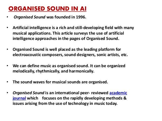 AI THROUGH THE EYES OF ORGANISE SOUND