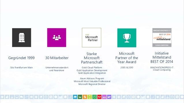 Gegründet 1999 Sitz Frankfurt am Main 30 Mitarbeiter Unternehmensstandort und Nearshore Microsoft Partner of the Year Awar...