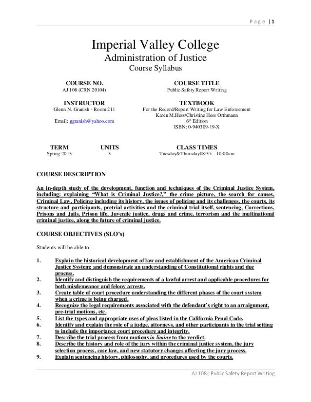 Page |1                            Imperial Valley College                              Administration of Justice         ...