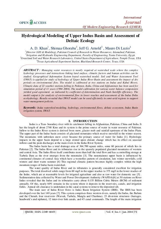 International OPEN  Journal  ACCESS  Of Modern Engineering Research (IJMER)  Hydrological Modeling of Upper Indus Basin an...