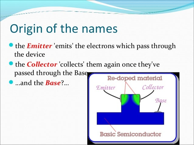 Transistor operation  force – voltage/current  water flow – current  - amplification