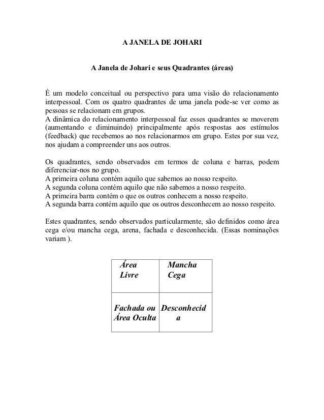 A JANELA DE JOHARI              A Janela de Johari e seus Quadrantes (áreas)É um modelo conceitual ou perspectivo para uma...