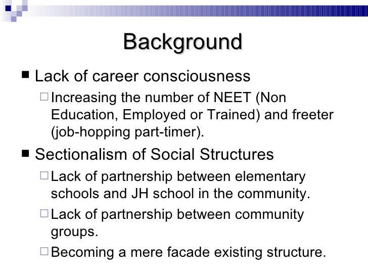 <ul><li>Lack of career consciousness </li></ul><ul><ul><li>Increasing the number of NEET (Non Education, Employed or Train...