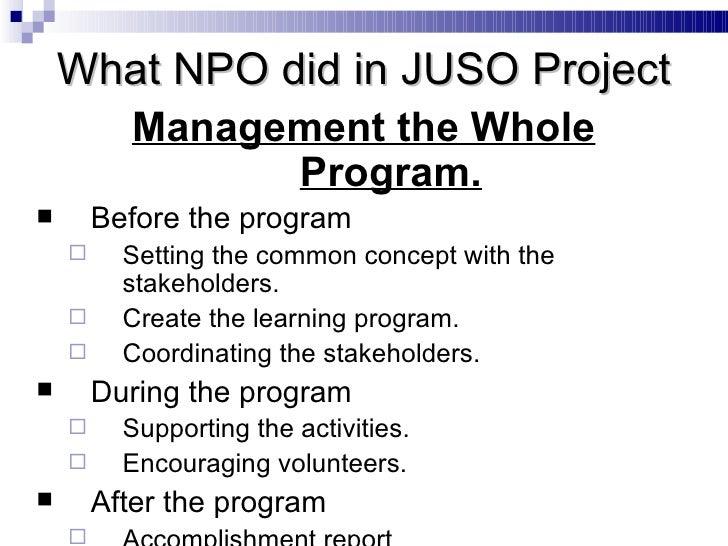 <ul><li>Management the Whole Program. </li></ul><ul><li>Before the program </li></ul><ul><ul><li>Setting the common concep...