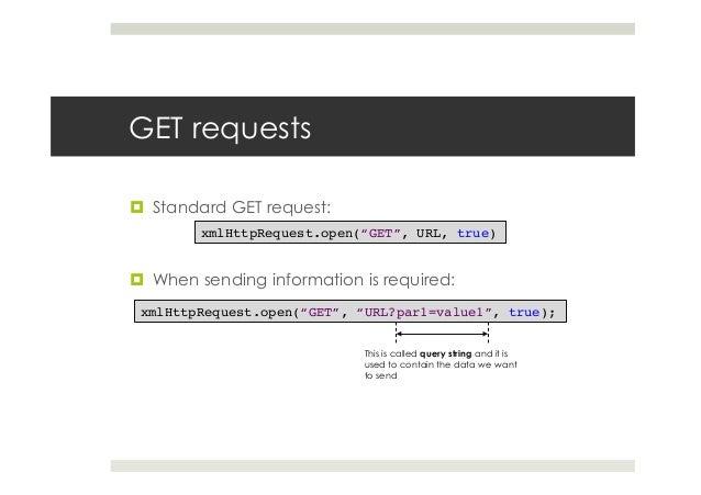 """GET requests ¤ Standard GET request: ¤ When sending information is required: xmlHttpRequest.open(""""GET"""", URL, true)! xm..."""
