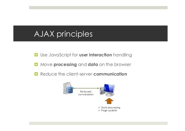 AJAX principles ¤ Use JavaScript for user interaction handling ¤ Move processing and data on the browser ¤ Reduce th...