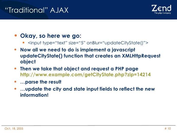 """ Traditional"" AJAX <ul><li>Okay, so here we go: </li></ul><ul><ul><li><input type=""text"" size=""5"" onBlur=""updateCityState..."