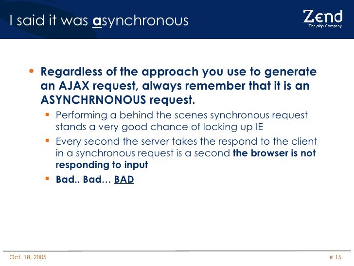 I said it was  a synchronous <ul><li>Regardless of the approach you use to generate an AJAX request, always remember that ...