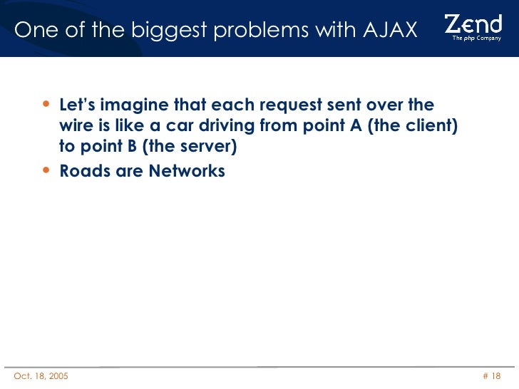 One of the biggest problems with AJAX <ul><li>Let's imagine that each request sent over the wire is like a car driving fro...