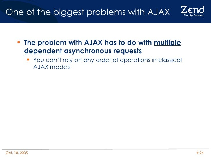 One of the biggest problems with AJAX <ul><li>The problem with AJAX has to do with  multiple   dependent  asynchronous req...