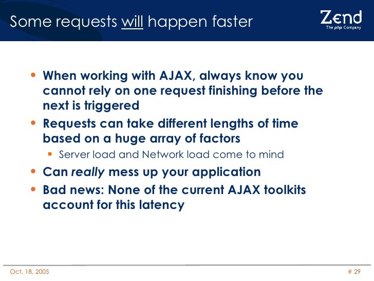 Some requests  will  happen faster <ul><li>When working with AJAX, always know you cannot rely on one request finishing be...