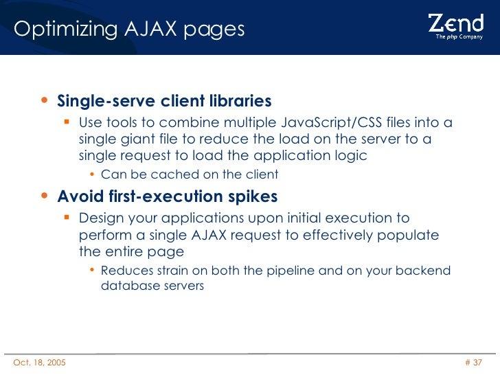 Optimizing AJAX pages <ul><li>Single-serve client libraries </li></ul><ul><ul><li>Use tools to combine multiple JavaScript...