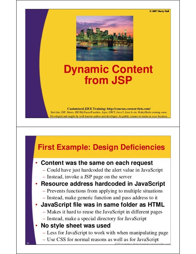 © 2007 Marty Hall                     Dynamic Content                        from JSP                        Customized J2...
