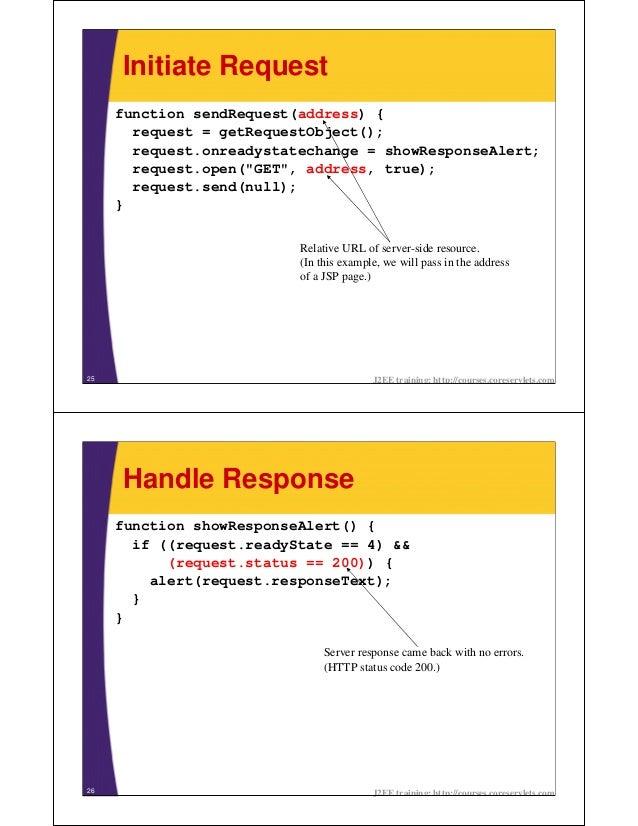 Initiate Request     function sendRequest(address) {       request = getRequestObject();       request.onreadystatechange ...