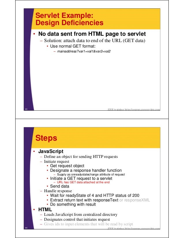 Servlet Example:     Design Deficiencies     • No data sent from HTML page to servlet       – Solution: attach data to end...