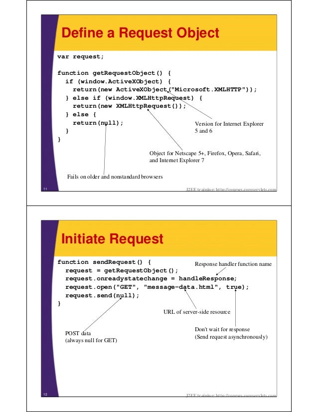 Define a Request Object     var request;     function getRequestObject() {       if (window.ActiveXObject) {         retur...