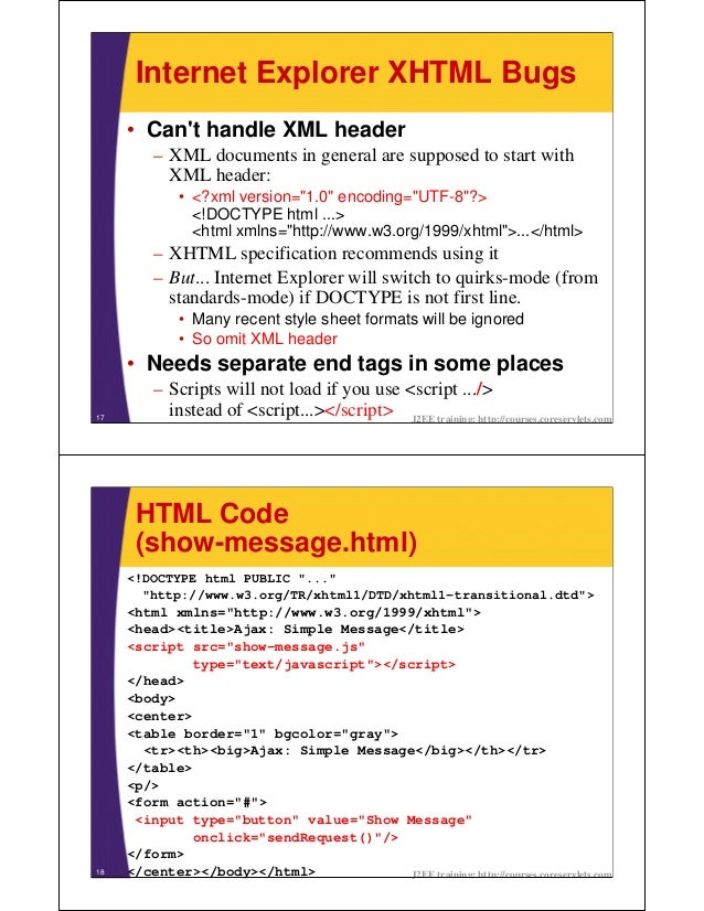 Internet Explorer XHTML Bugs     • Cant handle XML header         – XML documents in general are supposed to start with   ...
