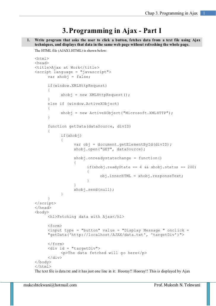 Chap 3. Programming in Ajax      1                        3. Programming in Ajax - Part I 1.   Write program that asks the...