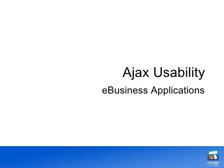 Ajax Usability eBusiness Applications