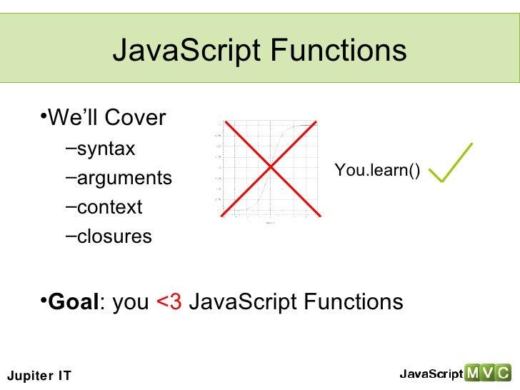 JavaScript Functions <ul><li>We'll Cover </li></ul><ul><ul><li>syntax </li></ul></ul><ul><ul><li>arguments </li></ul></ul>...