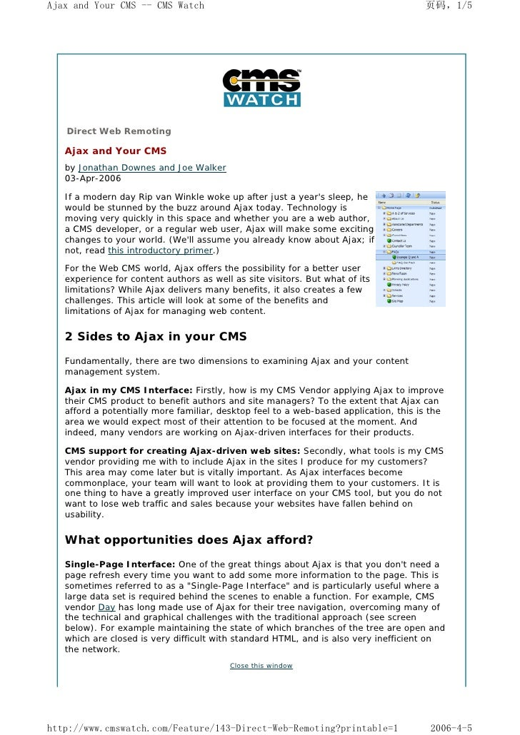 Ajax and Your CMS -- CMS Watch                                                        页码,1/5        Direct Web Remoting   ...