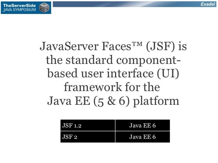ExadelJavaServer Faces™ (JSF) is the standard component- based user interface (UI)    framework for the Java EE (5 & 6) pl...