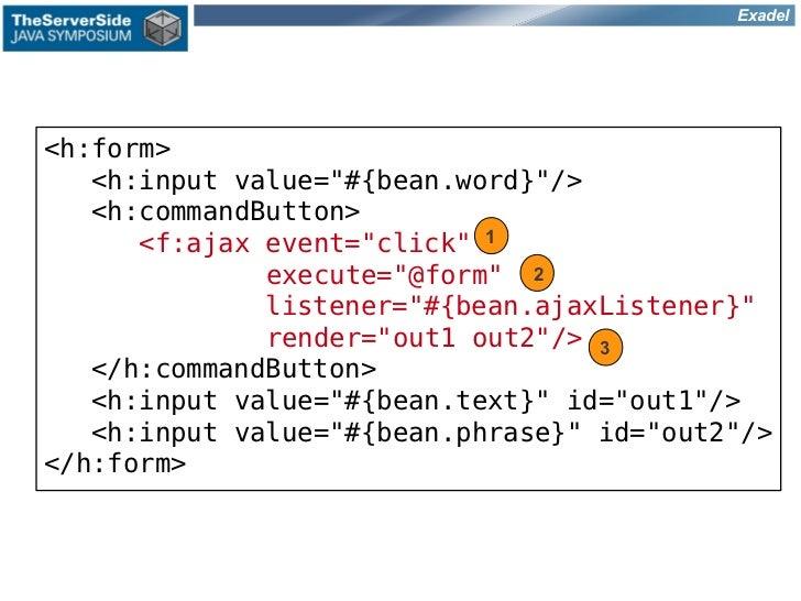 "Exadel<h:form>   <h:input value=""#{bean.word}""/>   <h:commandButton>      <f:ajax event=""click"" 1              execute=""@f..."