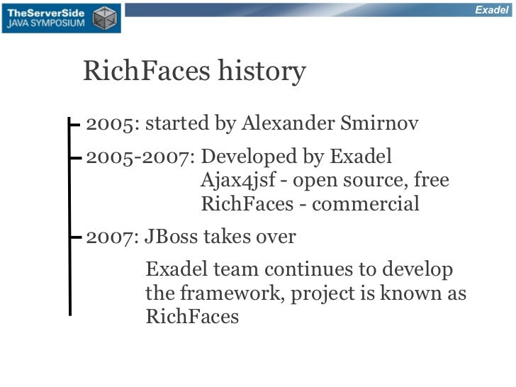 ExadelRichFaces history2005: started by Alexander Smirnov2005-2007: Developed by Exadel           Ajax4jsf - open source, ...