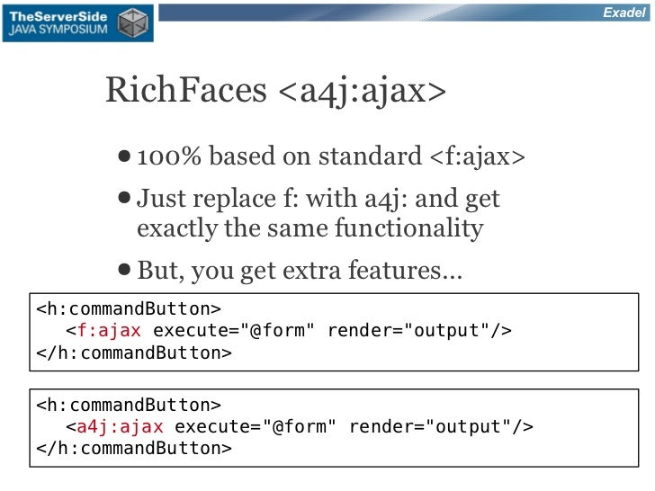 Exadel      RichFaces <a4j:ajax>       ● 100% based on     standard <f:ajax>       ● Just replace f: with a4j: and get    ...