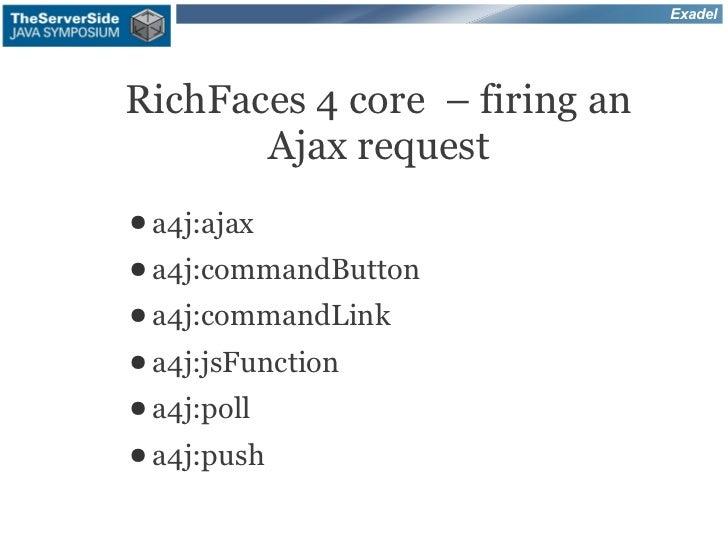 ExadelRichFaces 4 core – firing an       Ajax request● a4j:ajax● a4j:commandButton● a4j:commandLink● a4j:jsFunction● a4j:p...