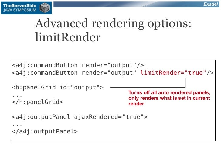 """Exadel      Advanced rendering options:      limitRender<a4j:commandButton render=""""output""""/><a4j:commandButton render=""""out..."""