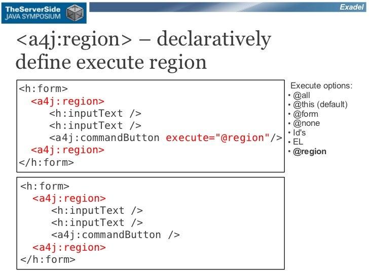 Exadel<a4j:region> – declarativelydefine execute region<h:form>                                    Execute options:       ...