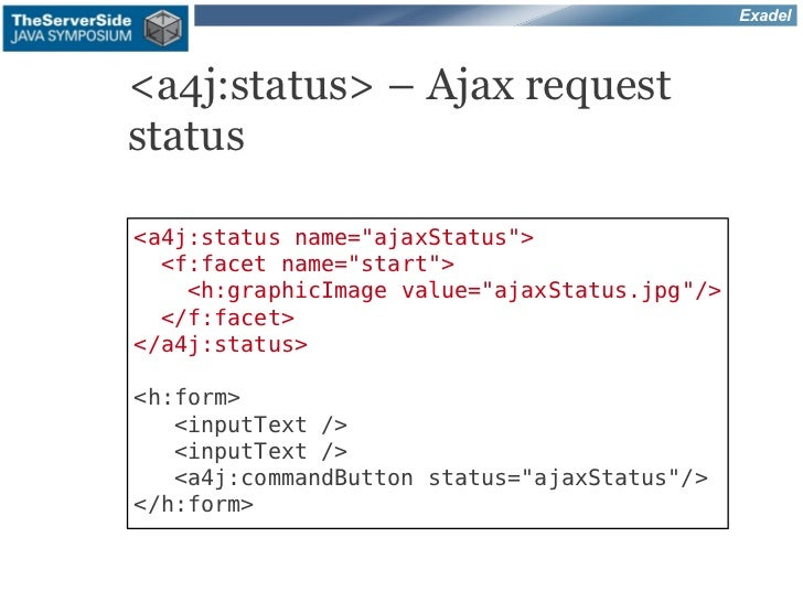 "Exadel<a4j:status> – Ajax requeststatus<a4j:status name=""ajaxStatus"">  <f:facet name=""start"">    <h:graphicImage value=""aj..."