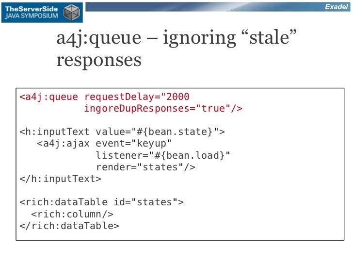 "Exadel      a4j:queue – ignoring ""stale""      responses<a4j:queue requestDelay=""2000           ingoreDupResponses=""true""/>..."