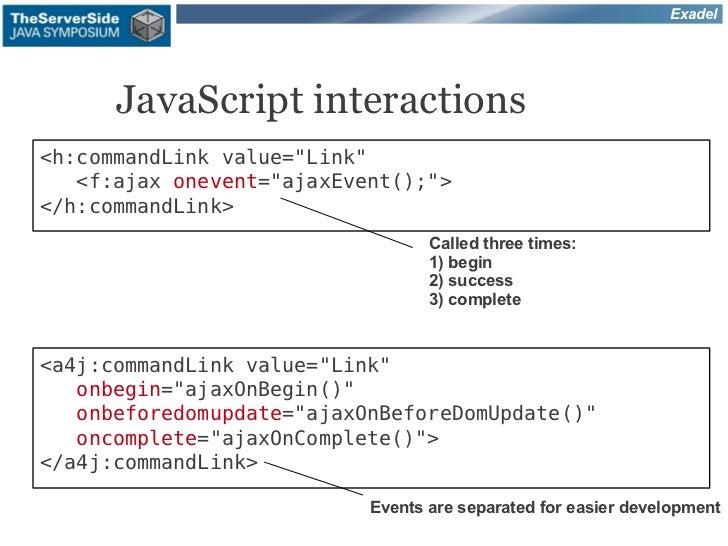 "Exadel      JavaScript interactions<h:commandLink value=""Link""   <f:ajax onevent=""ajaxEvent();""></h:commandLink>          ..."