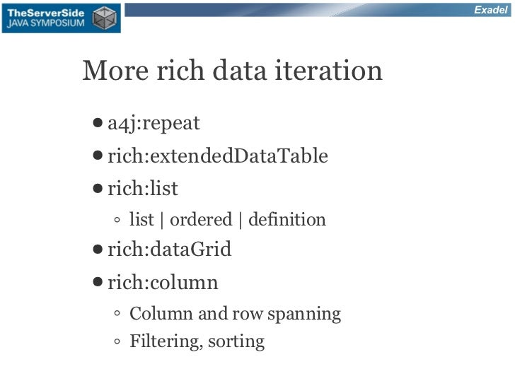 ExadelMore rich data iteration● a4j:repeat● rich:extendedDataTable● rich:list  ◦ list | ordered | definition● rich:dataGri...