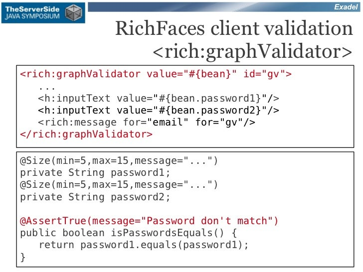 """Exadel               RichFaces client validation                   <rich:graphValidator><rich:graphValidator value=""""#{bean..."""