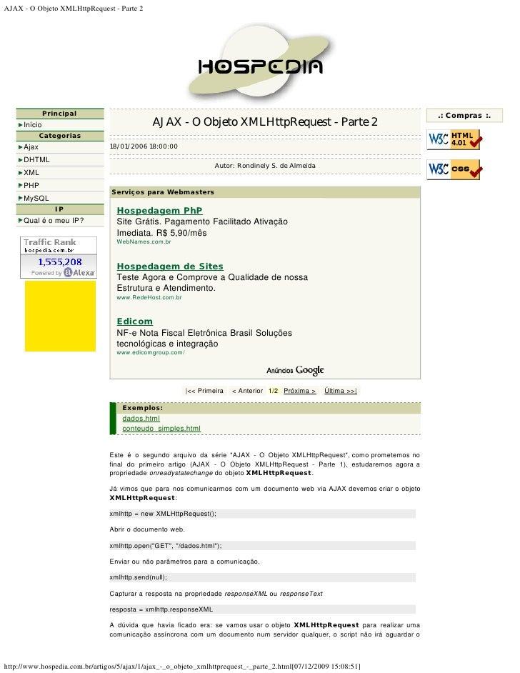 AJAX - O Objeto XMLHttpRequest - Parte 2                    Principal                                                     ...