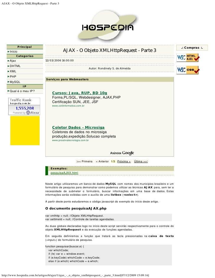 AJAX - O Objeto XMLHttpRequest - Parte 3                    Principal                                                     ...