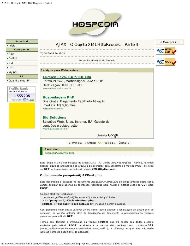 AJAX - O Objeto XMLHttpRequest - Parte 4                    Principal                                                     ...