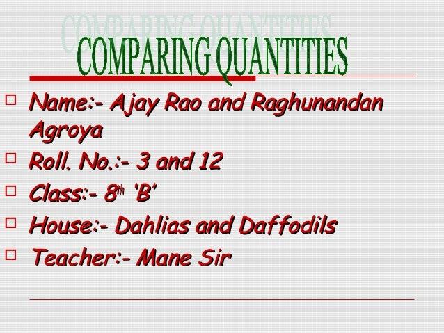Comparing Quantities Class 8