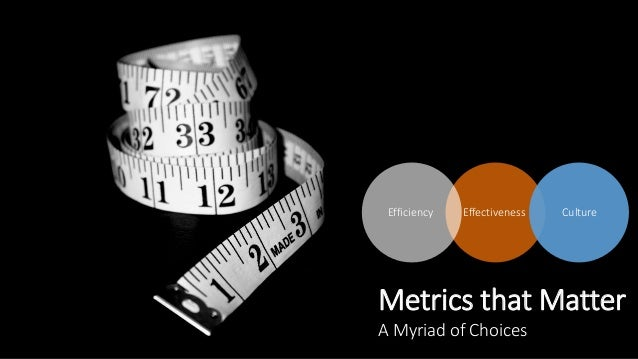 Metrics that Matter A Myriad of Choices Efficiency Effectiveness Culture