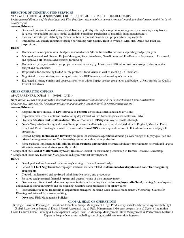 Resume Accomplishments For Contract Program Managers