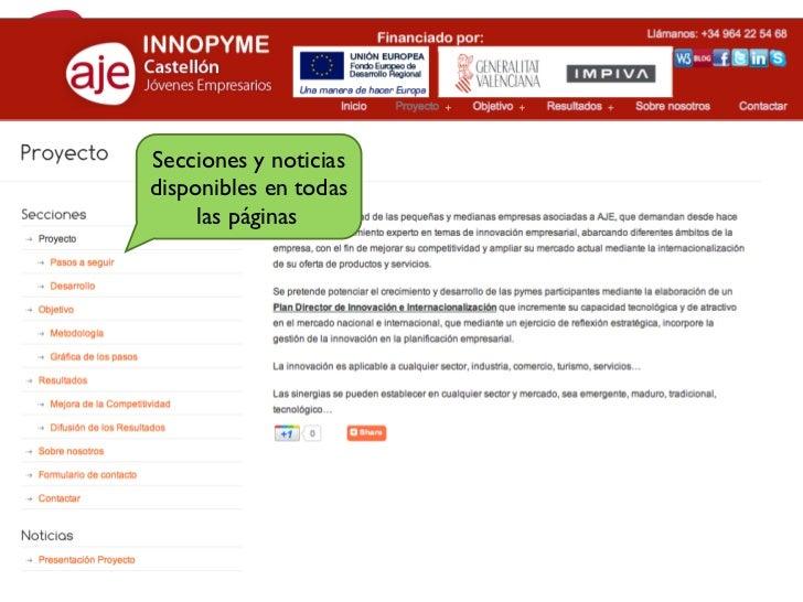 INNOPYME                  Web/BlogSecciones y noticiasdisponibles en todas     las páginas