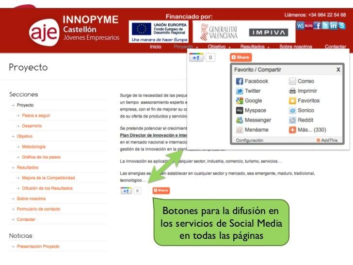 INNOPYMEWeb/Blog  Botones para la difusión en los servicios de Social Media      en todas las páginas