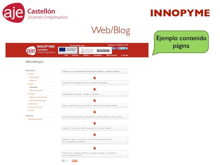 INNOPYMEWeb/Blog           Ejemplo contenido                página