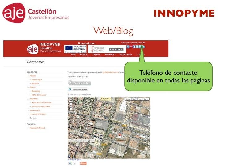 INNOPYMEWeb/Blog          Teléfono de contacto      disponible en todas las páginas